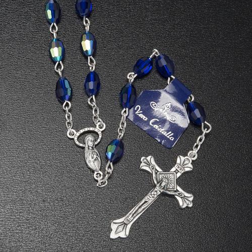 Chapelet perles cristal bleu 9x6 mm 2