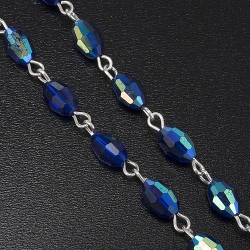 Rosario vero cristallo blu 9x6 mm 4