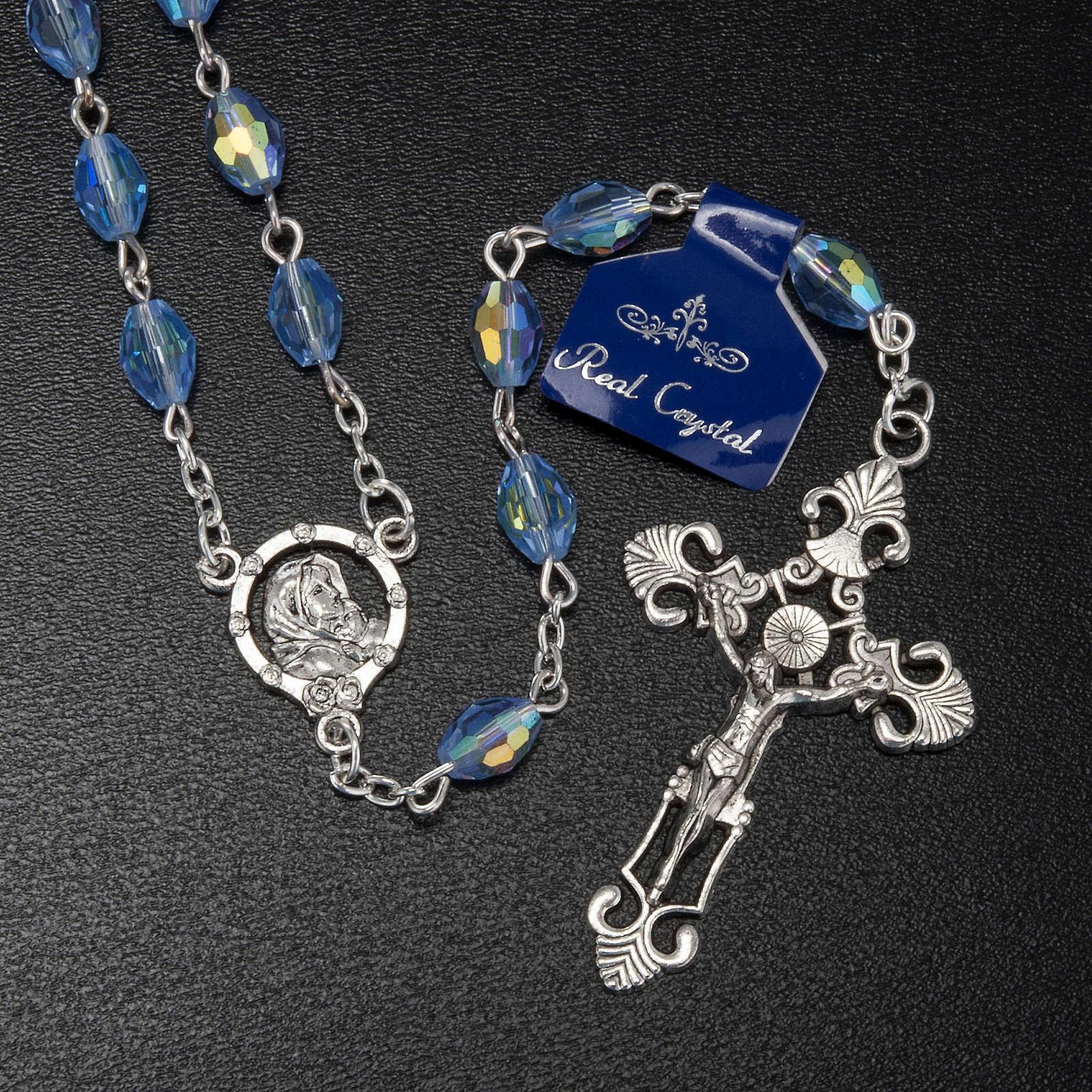 Rosario Madonna Ferruzzi vero cristallo azzurro 9x6 mm 4
