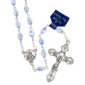 Rosari cristallo: Rosario Madonna Ferruzzi vero cristallo azzurro 9x6 mm