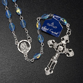 Rosario Madonna Ferruzzi vero cristallo azzurro 9x6 mm s2