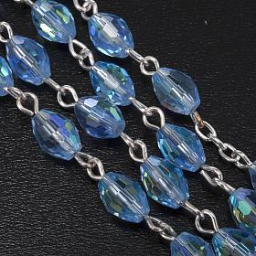 Rosario Madonna Ferruzzi vero cristallo azzurro 9x6 mm s5