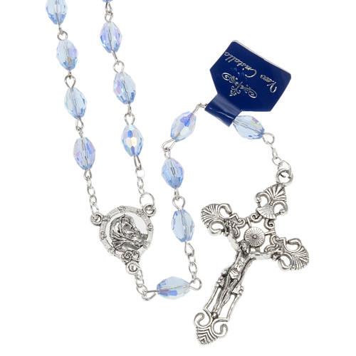 Rosario Madonna Ferruzzi vero cristallo azzurro 9x6 mm 1