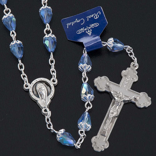 Rosary beads in crystal, with blue drops 2
