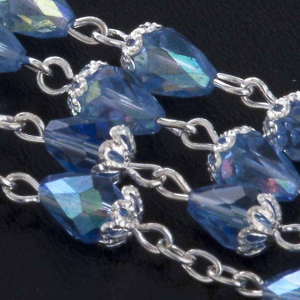 Rosario grano cristallo goccia blu 4