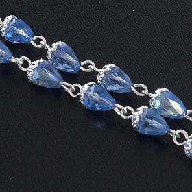 Rosario grano cristallo goccia blu s3
