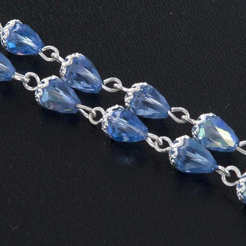 Różaniec koralik kryształ kropla niebieska 3