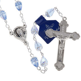 Rosary beads in crystal, with blue drops s3