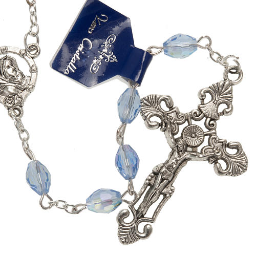 Rosary beads in crystal, with blue drops 1
