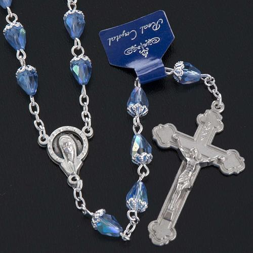 Rosary beads in crystal, with blue drops 5