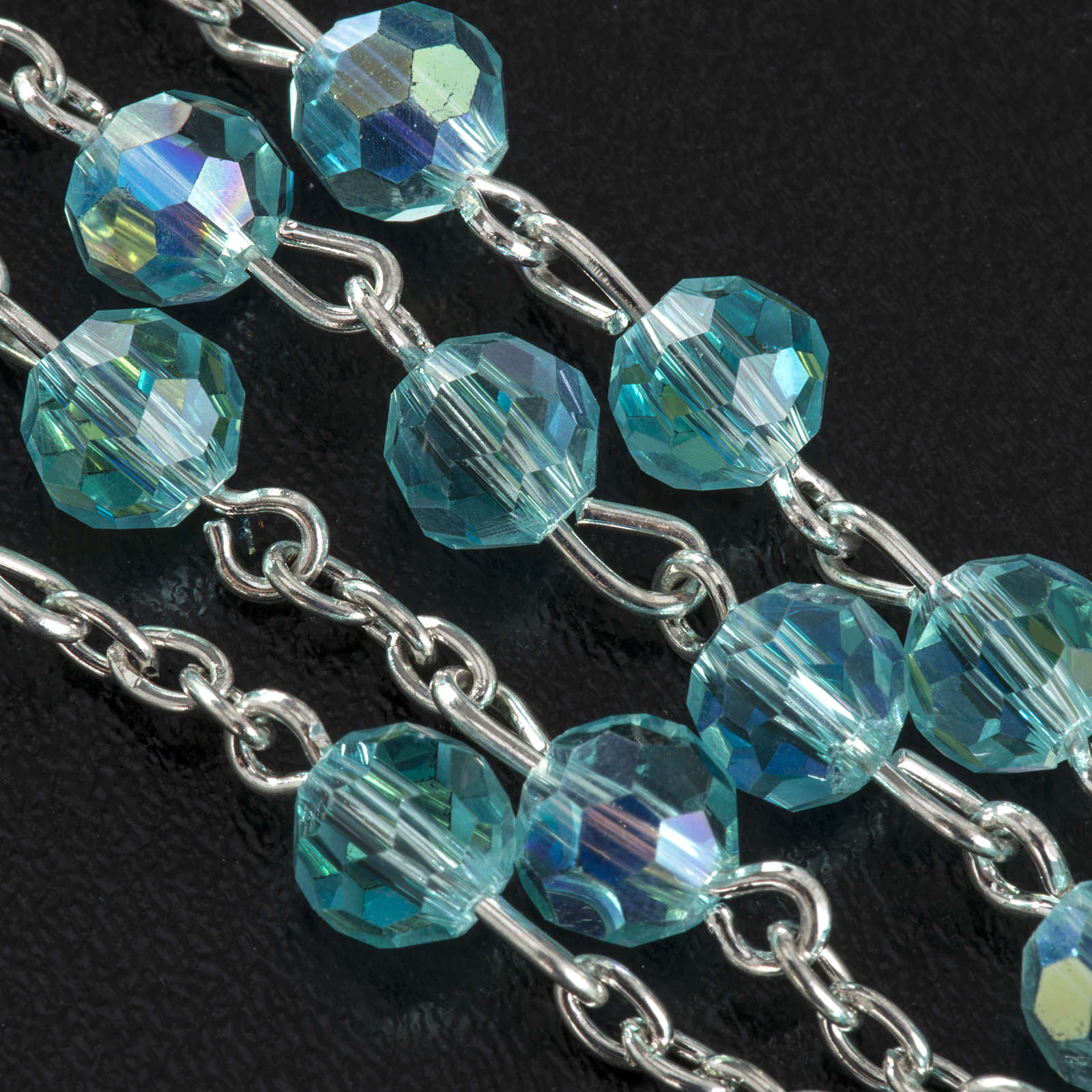 Rosary beads in crystal, 6mm, sea green 4