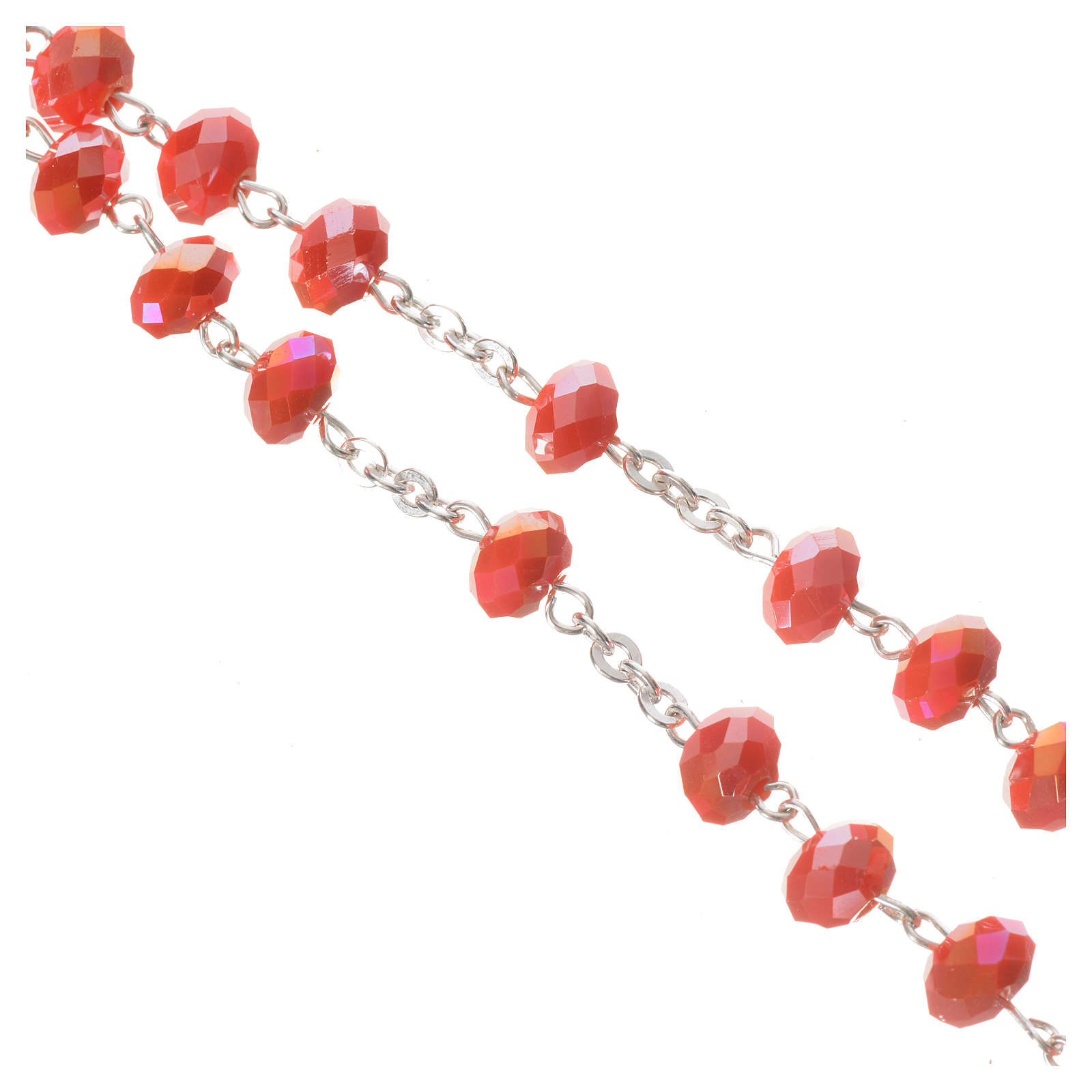 Rosary in opaque crystal and 800 silver, 6mm orange 4