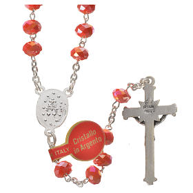 Rosary in opaque crystal and 800 silver, 6mm orange s2