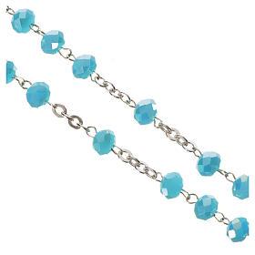 Rosario cristallo opaco 6mm argento 800 azzurro s4
