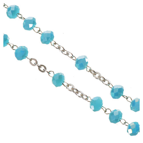 Rosario cristallo opaco 6mm argento 800 azzurro 4