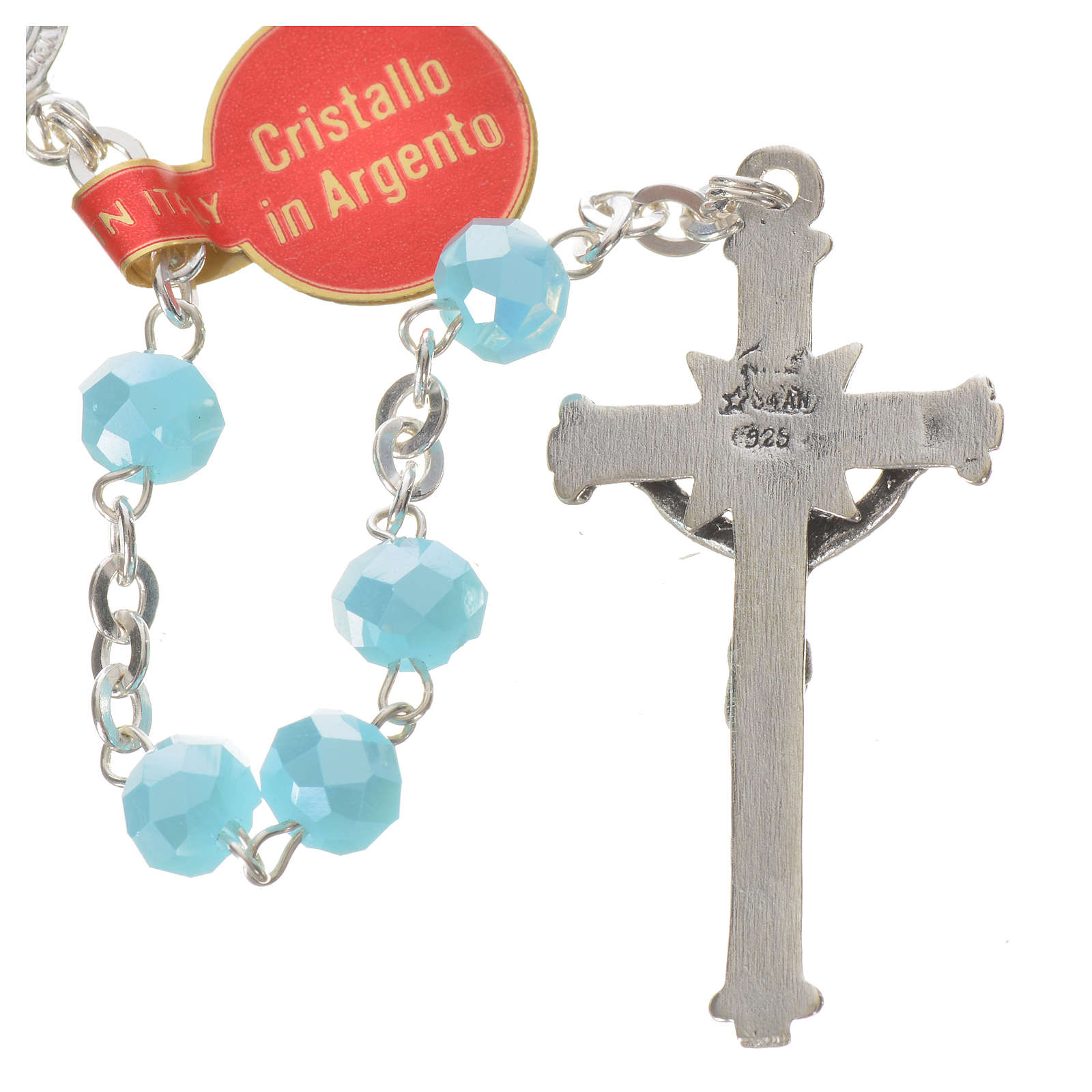 Rosary in opaque crystal and 800 silver, 6mm light blue 4
