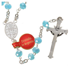 Rosary in opaque crystal and 800 silver, 6mm light blue s2