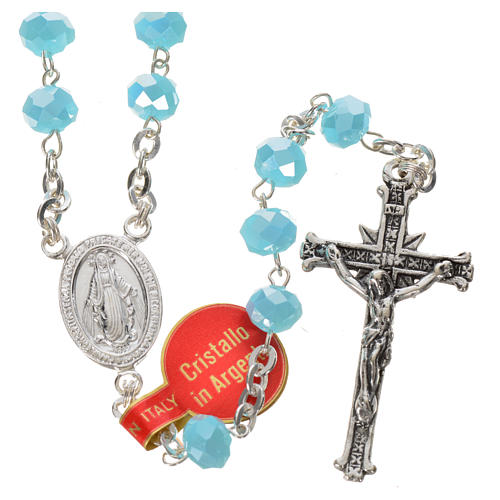 Rosary in opaque crystal and 800 silver, 6mm light blue 1