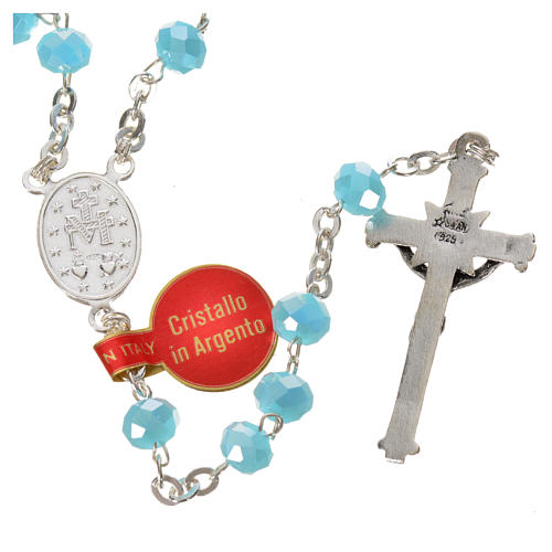 Rosary in opaque crystal and 800 silver, 6mm light blue 2