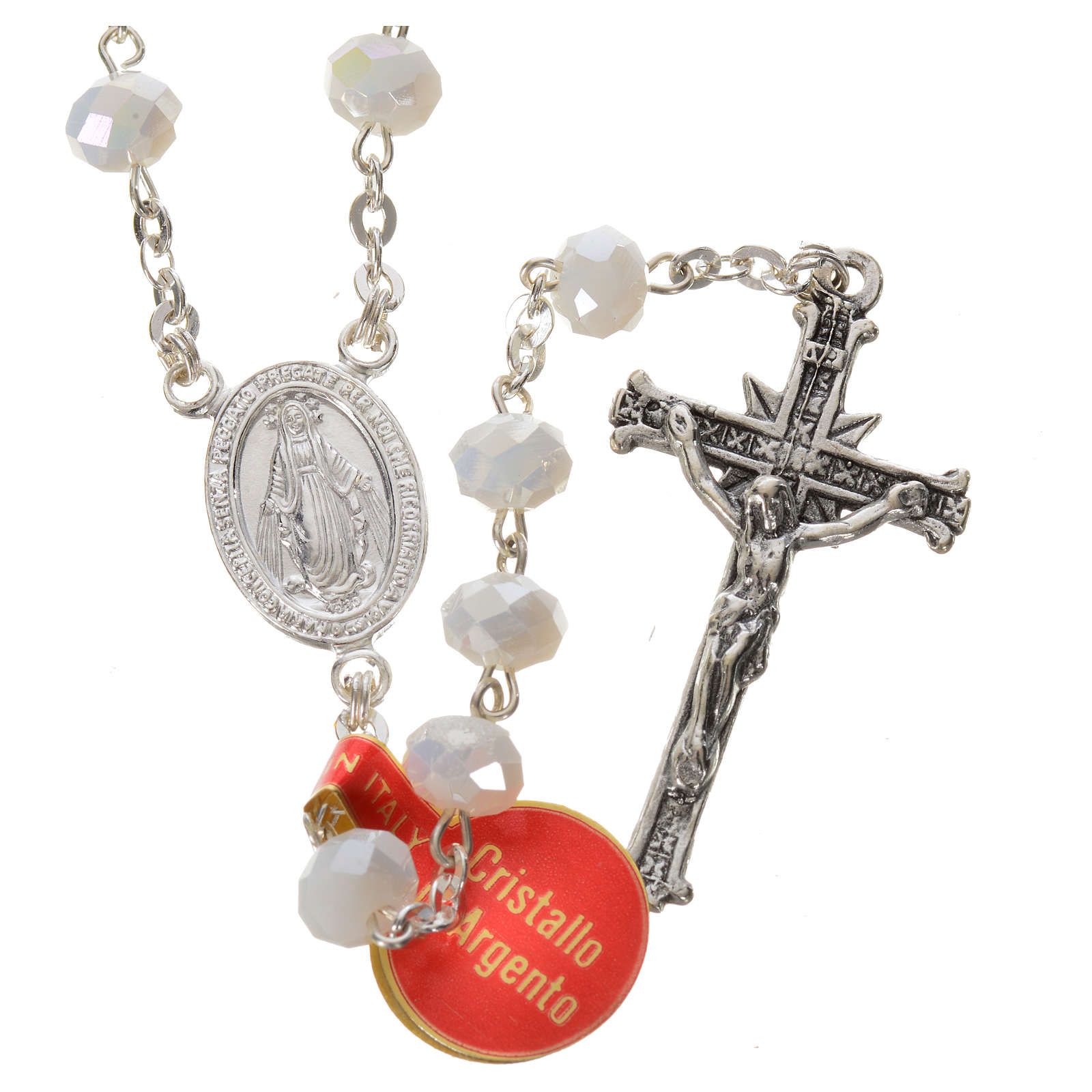 Rosary in opaque crystal and 800 silver, 6mm white 4