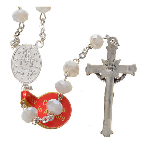 Rosary in opaque crystal and 800 silver, 6mm white 2