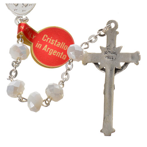 Rosary in opaque crystal and 800 silver, 6mm white 3