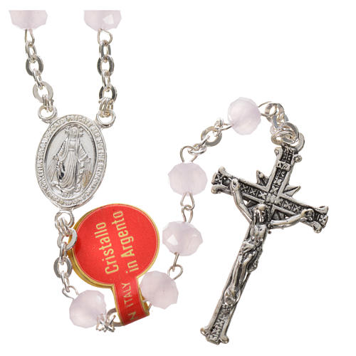 Rosary in opaque crystal and 800 silver, 6mm pink 1