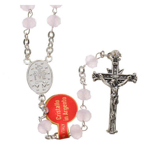 Rosary in opaque crystal and 800 silver, 6mm pink 2