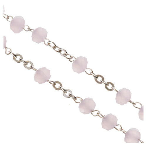 Rosary in opaque crystal and 800 silver, 6mm pink 4