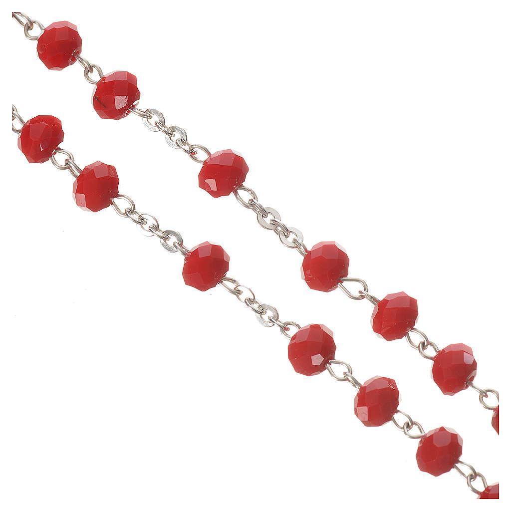 Chapelet cristal opaque 6mm argent 800 rouge 4