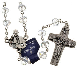 Rosary in crystal, Pope Francis 6x8mm s4