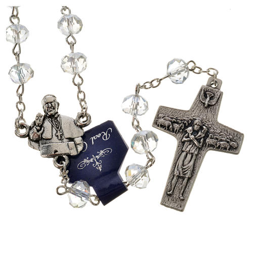 Rosary in crystal, Pope Francis 6x8mm 4