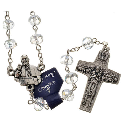 Rosary in crystal, Pope Francis 6x8mm 1