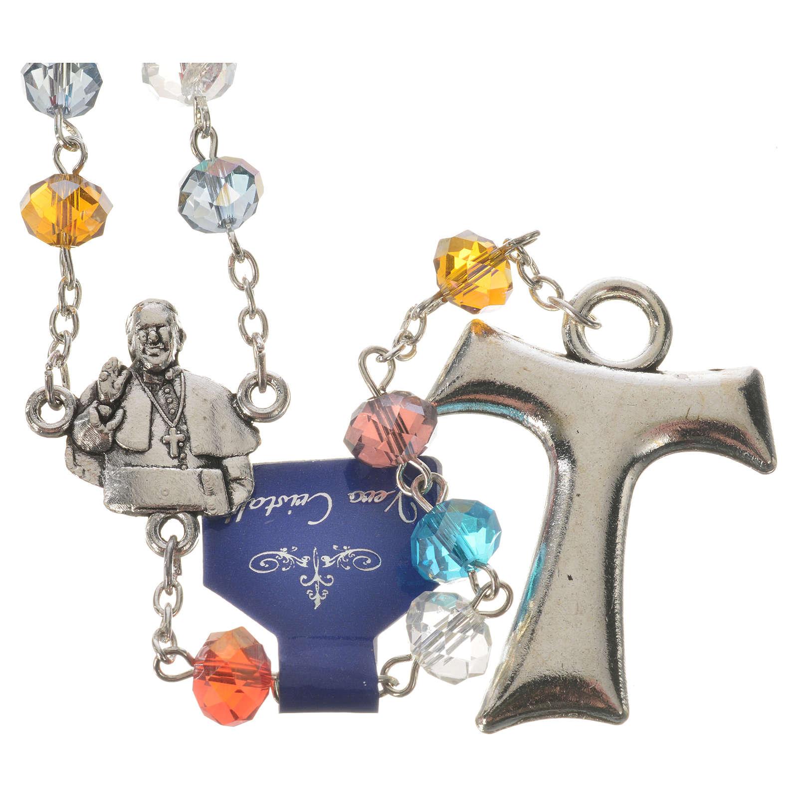 Rosenkranz Kristall Papst Franziskus und Tau Kreuz 4