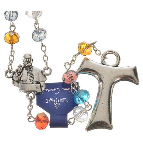 Rosenkranz Kristall Papst Franziskus und Tau Kreuz 1