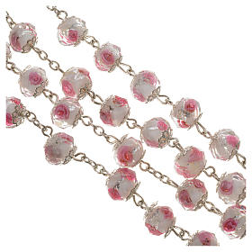 Chapelet cristal blanc avec roses 10 mm s3