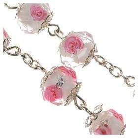 Chapelet cristal blanc avec roses 10 mm s4