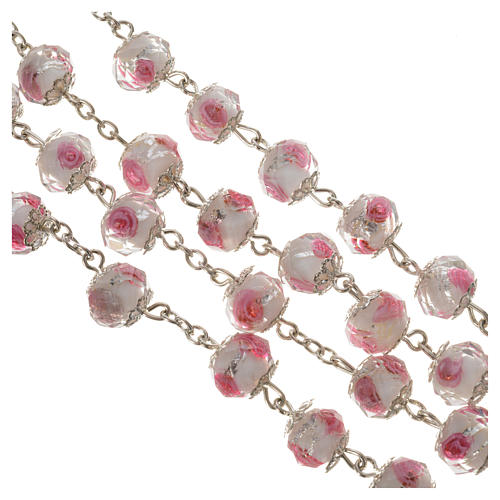 Rosario cristallo Bianco con rosa 10 mm 3