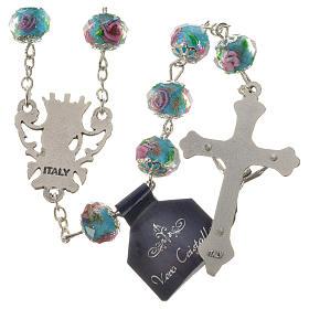 Chapelet cristal bleu ciel avec roses 10 mm s6