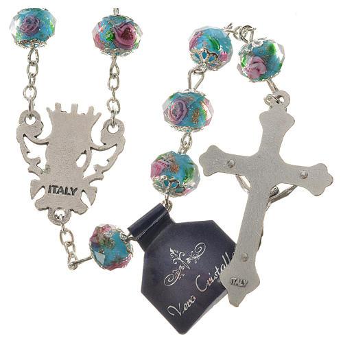 Chapelet cristal bleu ciel avec roses 10 mm 2