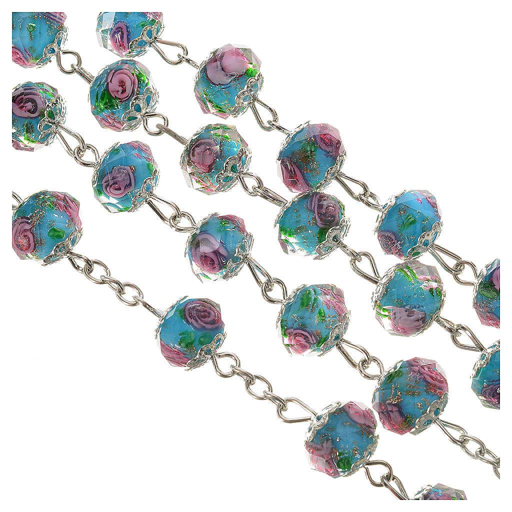 Rosario cristallo Azzurro con rosa 10 mm 4