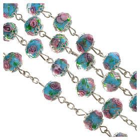 Rosario cristallo Azzurro con rosa 10 mm s3
