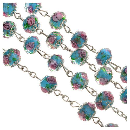 Rosario cristallo Azzurro con rosa 10 mm 7