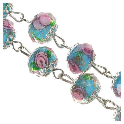 Rosario cristallo Azzurro con rosa 10 mm 8