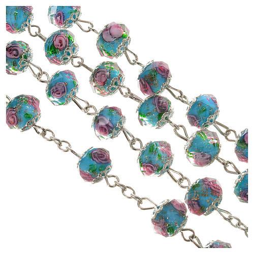 Rosario cristallo Azzurro con rosa 10 mm 3