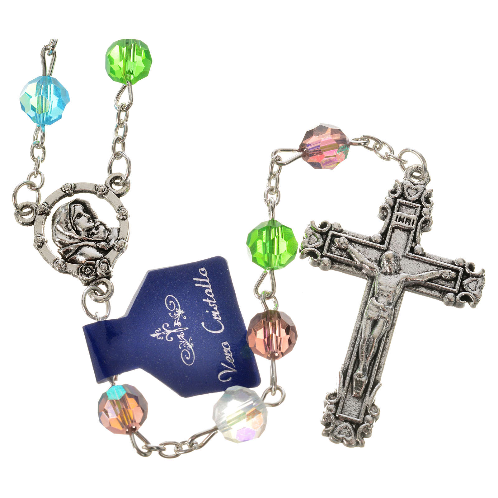 Rosary beads in crystal, 7mm Our Lady and baby 4