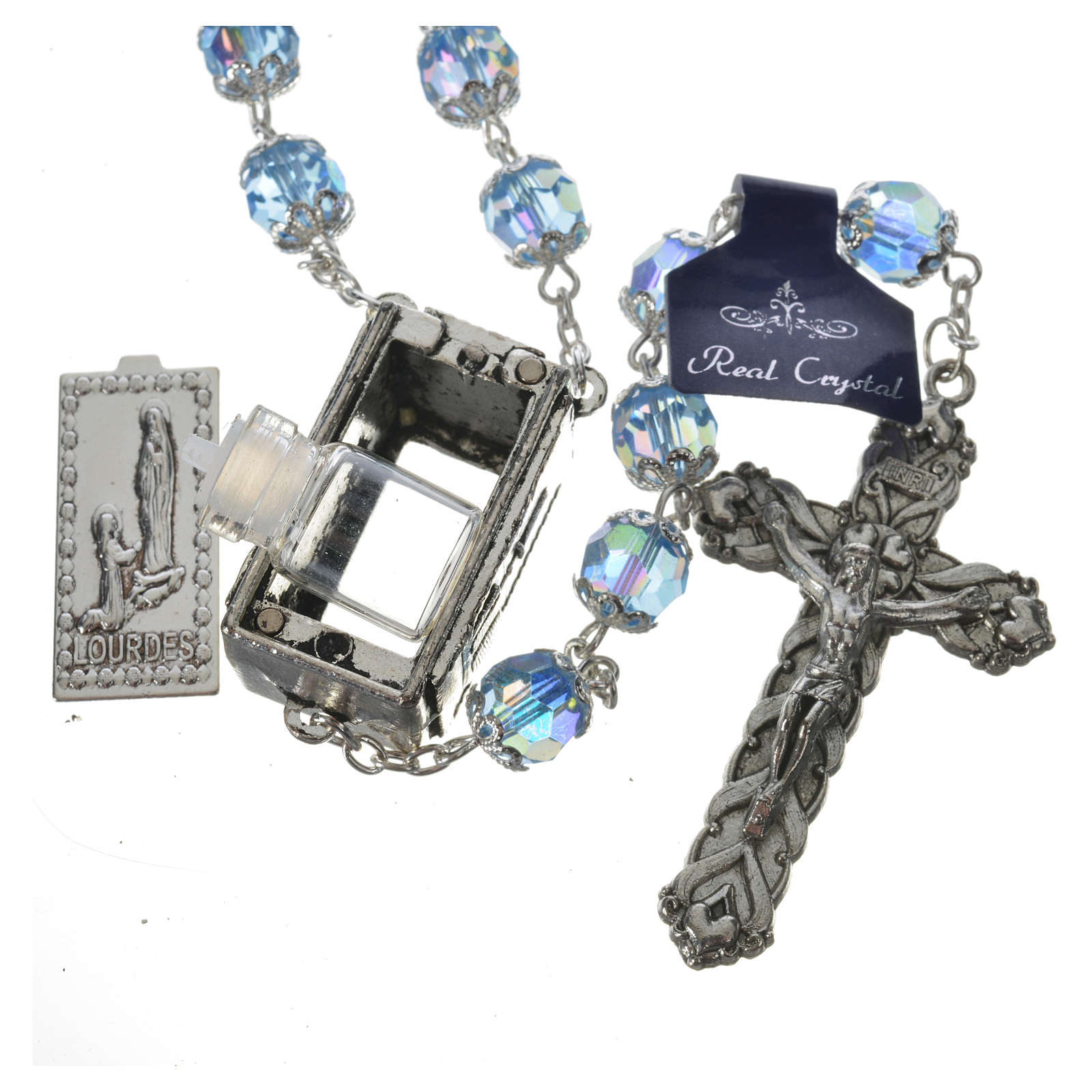 Rosary beads in crystal, 7mm Lourdes 4