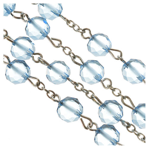 Rosario de cristal satinado 8 mm color azul claro 4