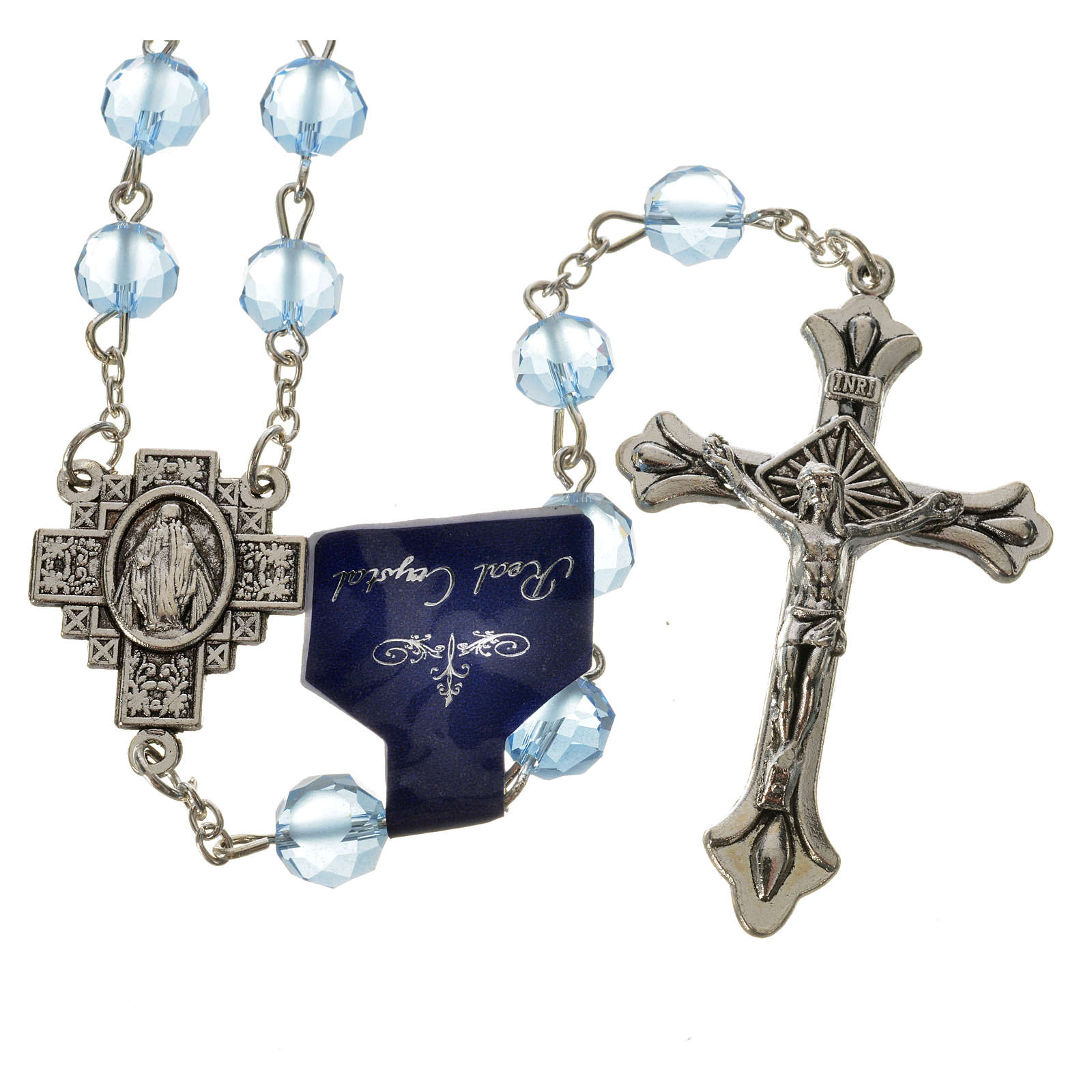 Rosary with satin crystal grains, light blue 4