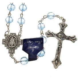 Rosary with satin crystal grains, light blue s1